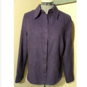 CHRISTOPHER & BANKS Sueded Dress Shirt S Plum LS